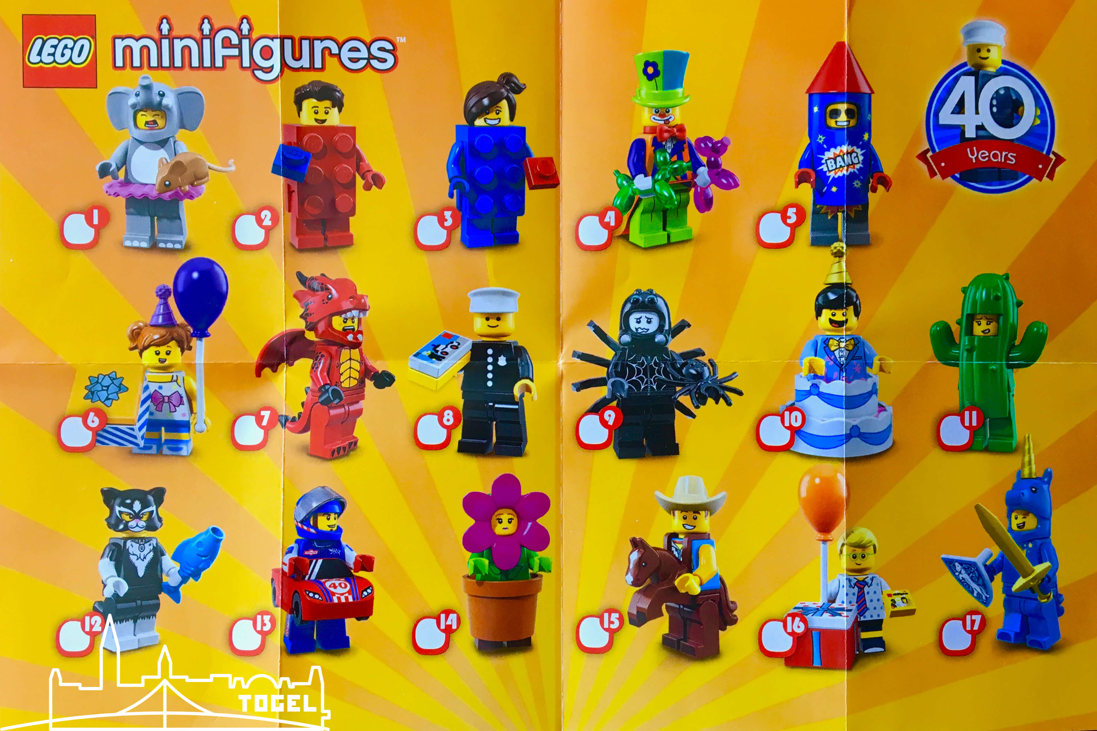 Lego Minifigur Serie 18 Beipackzettel - 40 Jahre Minifiguren.