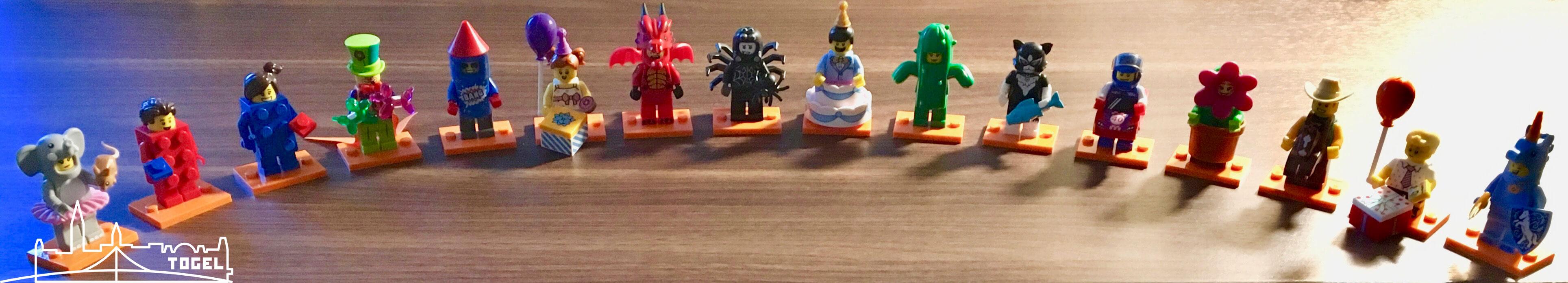 Minifiguren aus Minifigur Serie 18 aufgereiht - 40 Jahre Minifiguren.